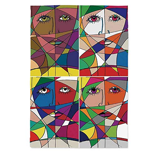 60' Rectangle Glass - TecBillion Abstract Home Decor Printed Tablecloth,Abstract Woman Face Illustration Behind Stained Glass Human Facial Feature for Rectangle Table Kitchen Dinning Party,60''W X 84''L