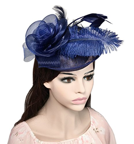 - YSJOY Womens Sinamay Ostrich Feather Fascinators Flower Kentucky Derby Hat Church Wedding Hat Tea Party Hearwear Navy Blue