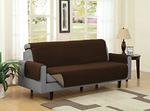 Linen Store Quilted Reversible Microfiber Pet Dog Couch Furniture Protector Cover (Sofa, Brown / Mocha) - Mocha Microfiber Sofa