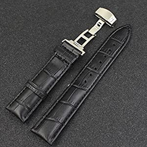 SCASTOE 18 24mm Luxury Leather Watch Band Strap with Stainless Steel Clasp Butterfly Buckle Black