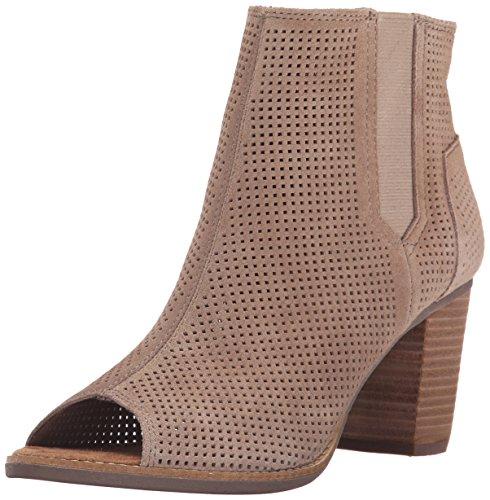 TOMS Women's Majorca Peep Toe Mid Calf Boot, Stucco Suede Perforated, 11 Medium -