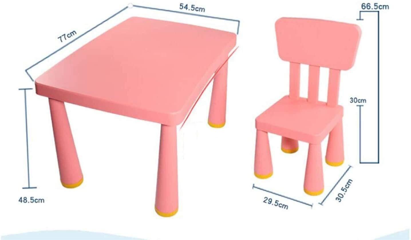 Skrivbord för barn plast bordsstol set barn möbler tillbehör plast skrivbord barn bord och stolar set småbarn aktivitetsstol bäst för småbarn spel läsning lekrum (färg: Blå ) Rosa