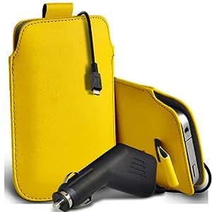 Nokia Lumia 635 premium protección PU ficha de extracción Slip In Pouch Pocket Cordón Piel Con 12v USB Micro en cargador del coche amarillo por Spyrox