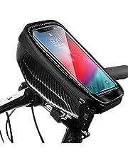 Snowpea Fietsframetas, waterdicht, fietstas, stuurtas, bovenbuistas, fiets, telefoonhouder met koptelefoongat voor smartphones kleiner dan 6,7 inch (zwart)