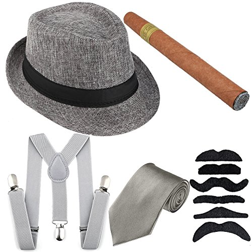 1920s Mens Costume Accessory - Manhattan Fedora Hat, Y-Back Suspenders Adjustable Elastic, Gangster Tie,Toy Cigar & Fake Mustache (Onesize, Grey)