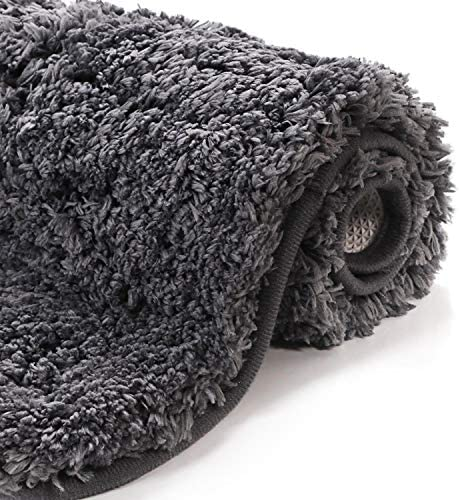 Uphome Bath Rug Runner Luxury Shaggy Gray Bath Mat 18×47 inch Thick Non-Slip Long Kitchen Rugs Soft Microfiber Machine-Washable Floor Carpet for Shower Bathtub