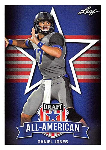 Jones Signed Football - Daniel Jones Football Card (Duke Blue Devils, New York Giants) 2019 Leaf Draft All American #70 Rookie