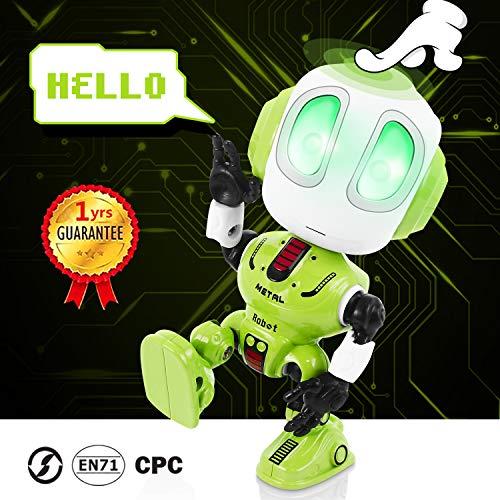 Peradix Mini Robot de Juguete,Robot Juguete Educativo con función de repetición de Voz Mini Robot Interactivo con Efectos Luces y Sonido Electronico Robot Regalo para Niños Toy Robot Juguete Verde