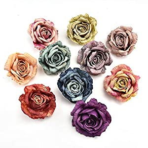 fake flowers heads in Bulk Wholesale Big Size Artificial Silk Simulation Peony Flowers Head for Home Wedding Party DIY Scrapbooking Decoration Fake Flowers 5PCS 10CM (Multicolor) 22