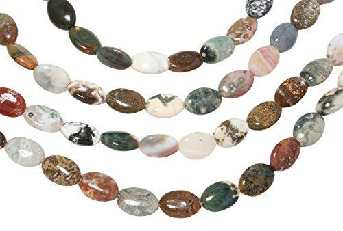 Ocean Jasper Beads Strand (1 Strand 15 Inch 8x12 mm Oval Natural Ocean Jasper Gemstone Beads)