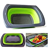 JmeGe Collapsible Colander Over The Sink Vegtable/Fruit Colander Strainer with Extendable Handles Folding