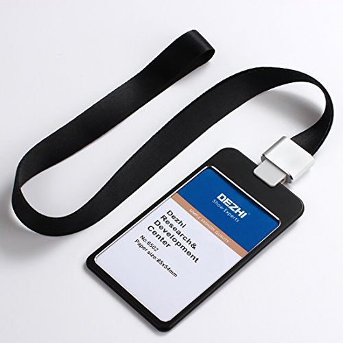 4x3'' Vertical Metal Credit Card Holder Badge Holder Card Bus ID Holders with Exquisite Lanyard, Logo Customize (Black) (The Brand With The Three Stripes Lanyard)