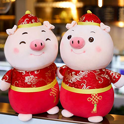 Muabobo 2019 Chinese New Year Pig Zodiac Mascot Dolls Plush Stuffed Animal Toys for Activities Party Gift
