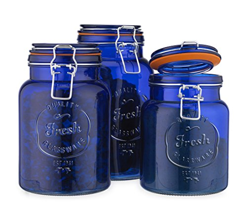 Glass Canister Fresh Set of 3 Blue Round Jar with Hermetic Seal Bail & Trigger Airtight Lock for Kitchen - Food Storage (Blue Glass Cookie Jar)