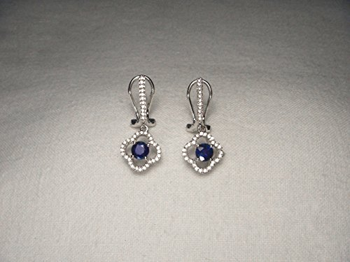 Estate Pave Earrings - Gorgeous Estate 14K White Gold Pave Diamond Sapphire Floral Earrings