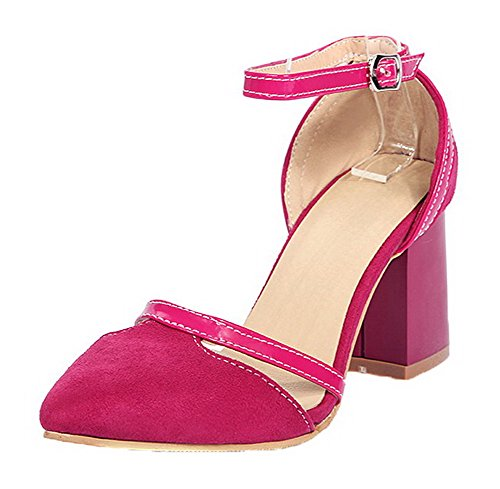 WeiPoot Women's Solid Blend Materials Kitten-Heels Buckle Sandals, EGHLG004849, Rosered, (Halloween Stores Nearby)