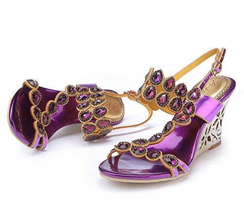 Unicrystal - Zapatos con correa de tobillo mujer Morado - violeta