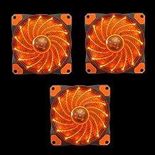 APEVIA AF312L-SOG 120mm Orange LED Ultra Silent Case Fan w/ 15 LEDs & Anti-Vibration Rubber Pads (3-pk)