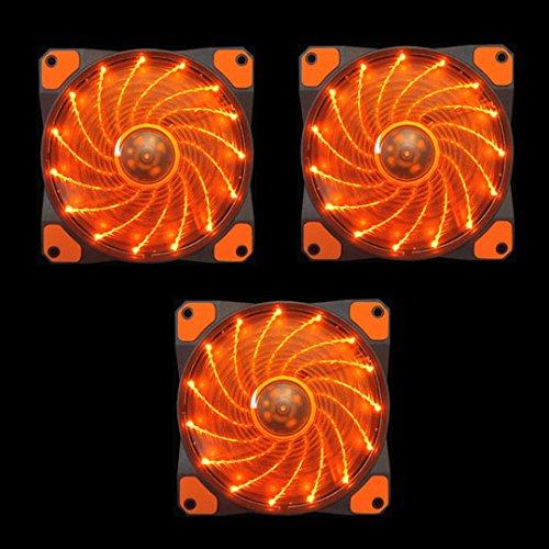 Orange Case Fan (APEVIA AF312L-SOG 120mm Orange LED Ultra Silent Case Fan w/ 15 LEDs & Anti-Vibration Rubber Pads (3-pk))