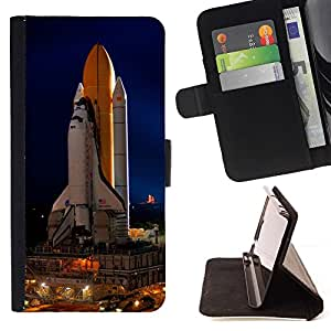 DEVIL CASE - FOR Sony Xperia M2 - Cape Canaveral Space Ship Launch - Style PU Leather Case Wallet Flip Stand Flap Closure Cover