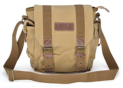 Gootium Canvas Messenger Bag - Small Vintage Shoulder Bag Crossbody Satchel, Khaki