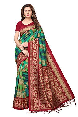 Art Decor Sarees Silk Saree with Blouse Piece (red Black Color ee_Black & Red_Free Size)