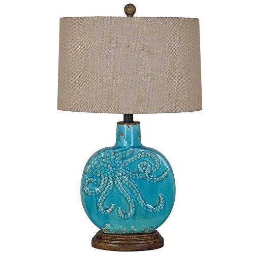 Deep Ocean Antique Turquoise Finish Ceramic Table Lamp 25 In. Tall Burlap Shade