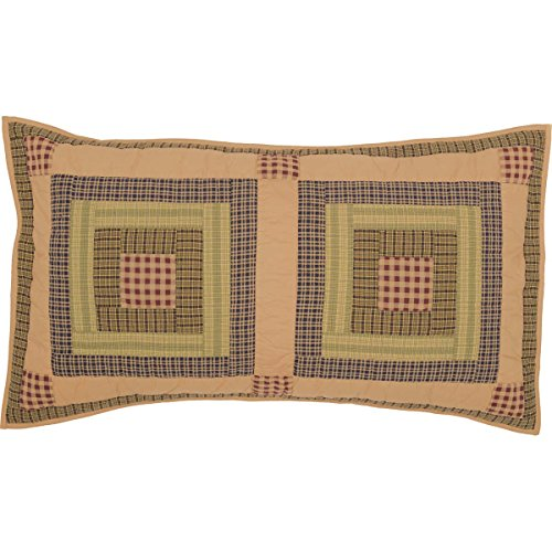 VHC Brands Rustic & Lodge Bedding Tea Cabin Block Sham, King, Green