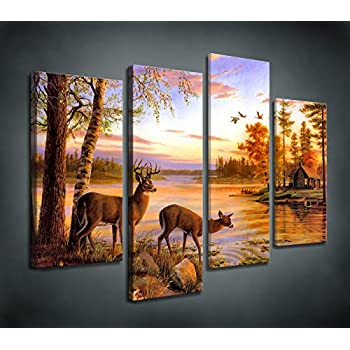 Moyedecor Art S404 4 Panel Wall Art Whitetail Deer In Dusk Painting The  Picture Print On