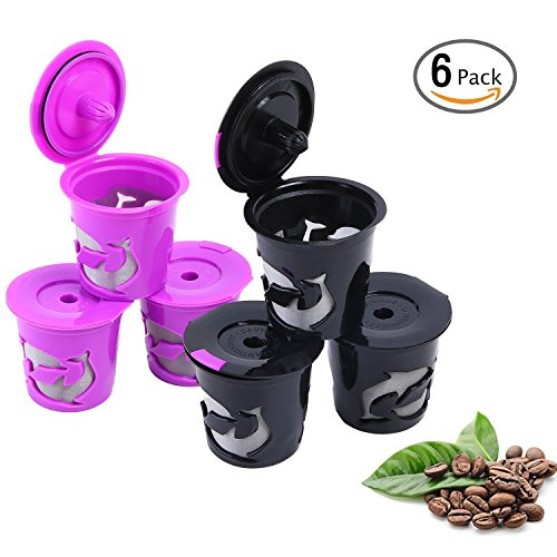 Resuable K Cup, 6 Reusable Filters for Keurig 1.0 and 2.0 Brewers, K200, K250, K300, K350, K400, K425, K450, K460, K475, K500, K525C, K550 and K560, Refillable Coffee Pods by Ohuhu, Black& Purple
