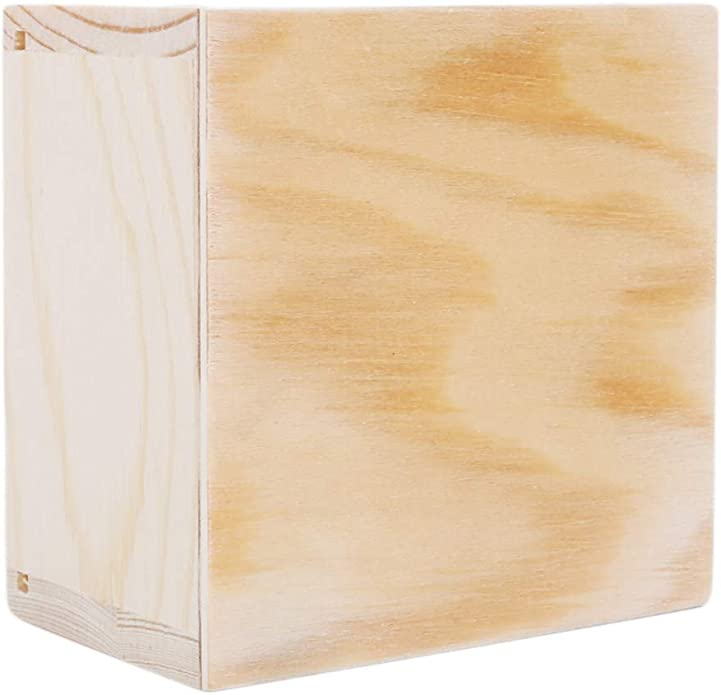 Essencedelight Wooden Hollow Unfinished Wood Classic Box Storage Box Slide Top