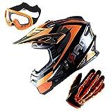 1Storm Adult Motocross Helmet BMX MX ATV Dirt Bike Helmet Racing Style Glossy Orange; + Goggles + Skeleton Orange Glove Bundle