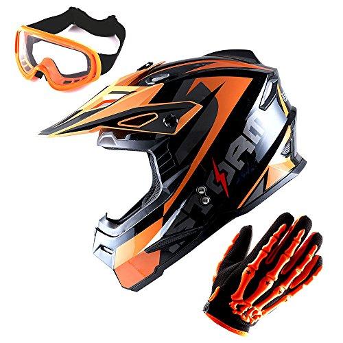 1Storm Adult Motocross Helmet BMX MX ATV Dirt Bike Helmet Racing Style Glossy Orange; + Goggles + Skeleton Orange Glove Bundle by 1Storm (Image #1)