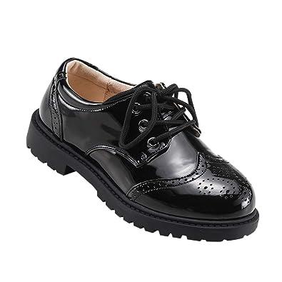 Yudesun Zapatos para Niño Mocasines - Encaje Brogues Oxford Correa Boda Uniforme Escolar Charol Plano Negro Formal Estilo Británico Niños: Amazon.es: ...