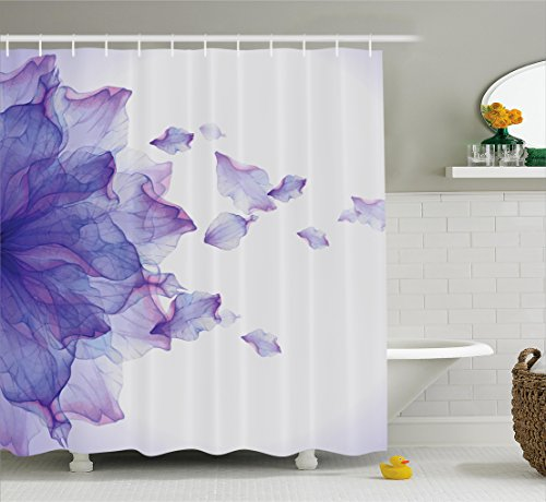 Ambesonne Flower Decor Shower Curtain, Abstract Themed Modern Futuristic Image with Water Like Colored Art Print, Fabric Bathroom Decor Set with Hooks, 70 Inches, Lilac and Pink