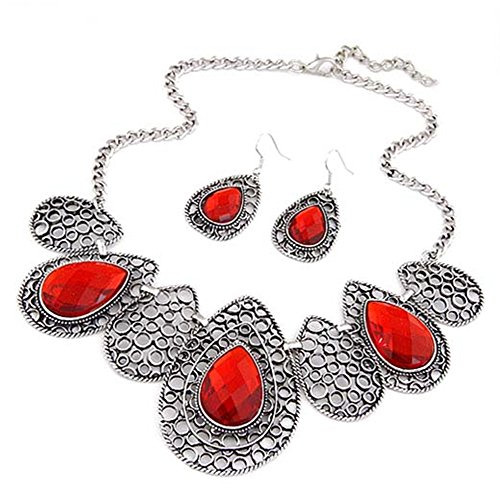 [Vwhite Womens Luxury Drop Pattern Pendant Bib Necklace Hook Earring Jewelry Set Red] (Unique Costume Jewelry Rings)