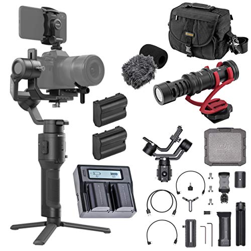 DJI Ronin-SC Handheld 3-Axis Gimbal Stabilizer for Nikon Z6 and Z7 Mirrorless Camera, Pro Battery Bundle with Bag, H+A Microphone, 2 Green Extreme EN-EL15 Battery, Dual Charger