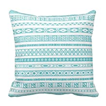 Soft Flannel Decorative Throw Pillow Covers Aztec Tribal Ethnic Geometric Pattern Teal Blue Couch Cushion Covers 18X18