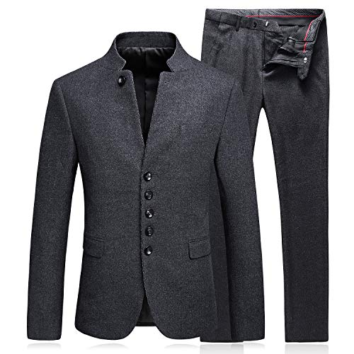 Young Mens Suits Slim Fit Mandarin Collar Blazer Casual Tweed Jacket Dress Pants Men Business Suit Pants Sets ()