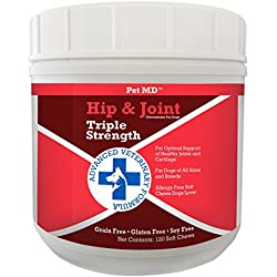Pet MD Hip and Joint Supplement Glucosamine for Dogs - Triple Strength Allergy Free - 120 Soft Chews