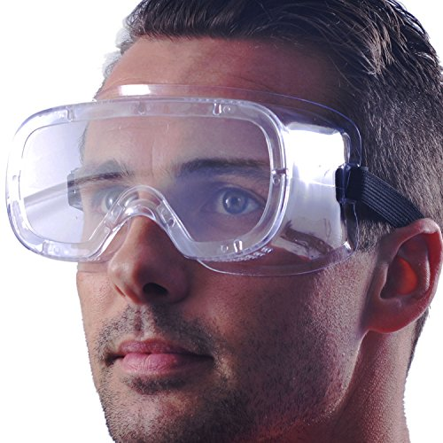 Safety Goggles (Protective Safety Glasses (HEAVY DUTY INDUSTRIAL STRENGTH SAFETY GOGGLES) Crystal Clear & Anti-Fog Design - High Impact Resistance - Perfect Eye Protection for Lab, Chemical, and Workplace Safety)