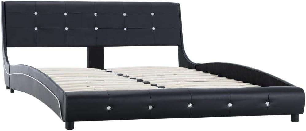 vidaXL Lit capitonn/é classique double lit en cuir synth/étique noir 140 x 200 cm