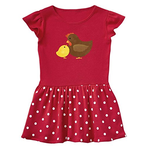 inktastic Hen and Chick Farm Infant Dress 24 Months Red and Polka Dot 1df81