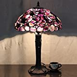 LILAS 12 Inch Purple Stone Pastoral Luxury European Tiffany Style Table Lamp Desk Lamp Bedside Lamp
