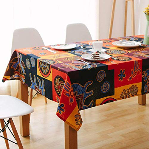 (Bringsine Rectangular Cotton Linen Fashion Mayan Culture Printed Washable Tablecloth Vintage Oblong Dinner Picnic Table Cloth Home Decoration Assorted Size)