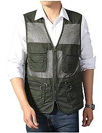 Men's Mesh Fishing Vest Photography Work Multi-Pockets Outdoors Journalist's Vest Jacket