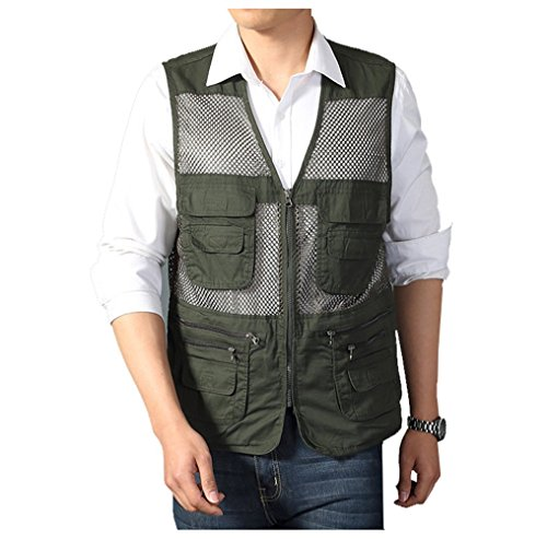 Kedera Men's Mesh Fishing Vest Photography Work Multi-pockets Outdoors Journalist's Vest Jacket (Army green, X-Large)