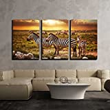 wall26 - 3 Piece Canvas Wall Art - Zebras Herd on Savanna at Sunset, Africa. Safari in Serengeti, Tanzania - Modern Home Decor Stretched and Framed Ready to Hang - 24''x36''x3 Panels