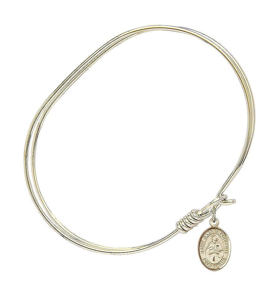 Bonyak Jewelry Oval Eye Hook Bangle Bracelet w//St Gabriel Possenti in Gold-Filled