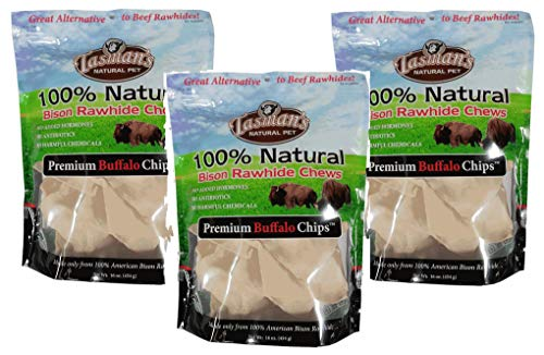 ((3 Pack) All-Natural Buffalo Rawhide Chip, 1 Pound each )